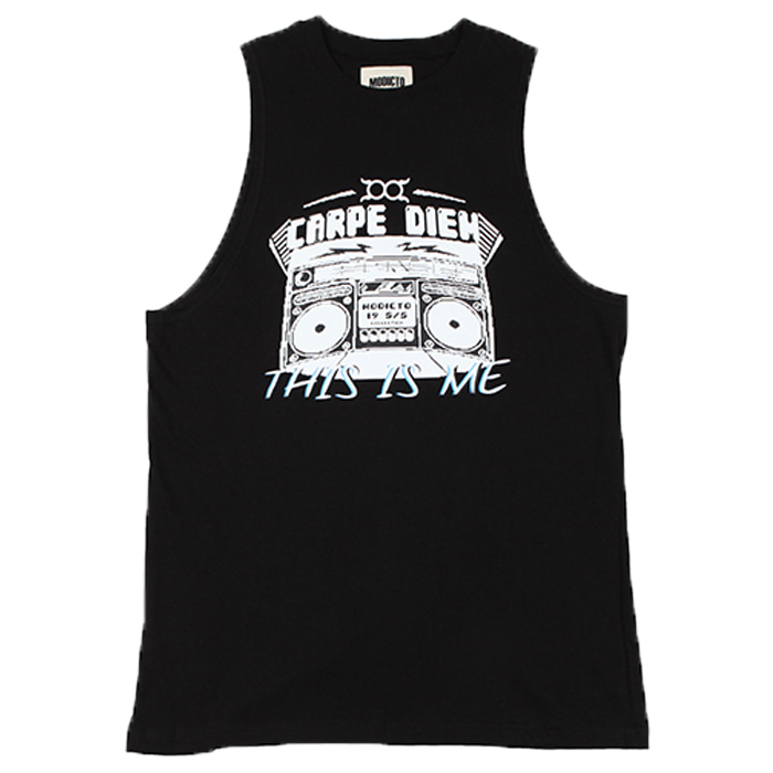 [모딕토]Graphic sleeveless_(Black)