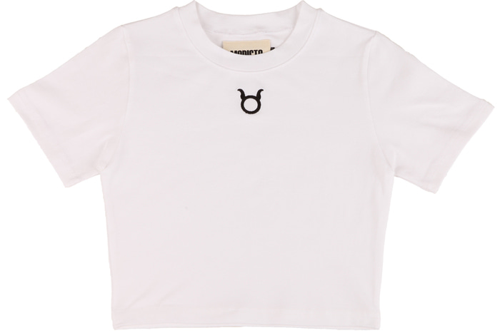 Logo Crop T-Shirts _ WHITE